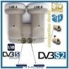 lnb monobloc hot-bird 13, et Astra 19, 2 utilisateur, 2 decodeurs double sorie , HDtv / UHD / 4 K
