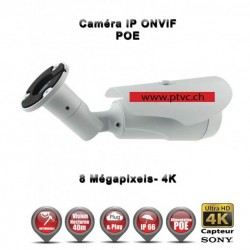 TUBE IP ANTI-VANDAL IR 40M ONVIF SONY 4K UHD 8 MegaPixels